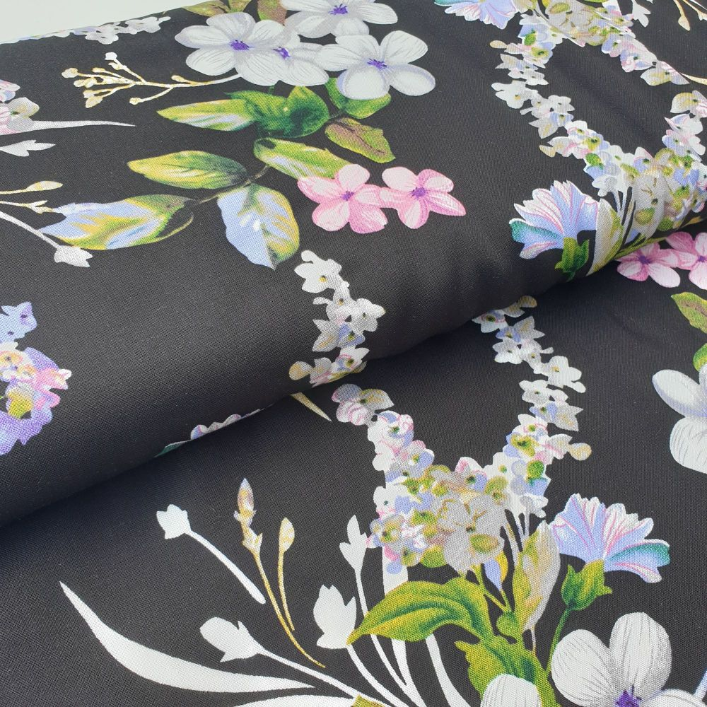 Flowers On Black Viscose Fabric