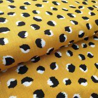 Mustard Polka Dot Rayon Fabric