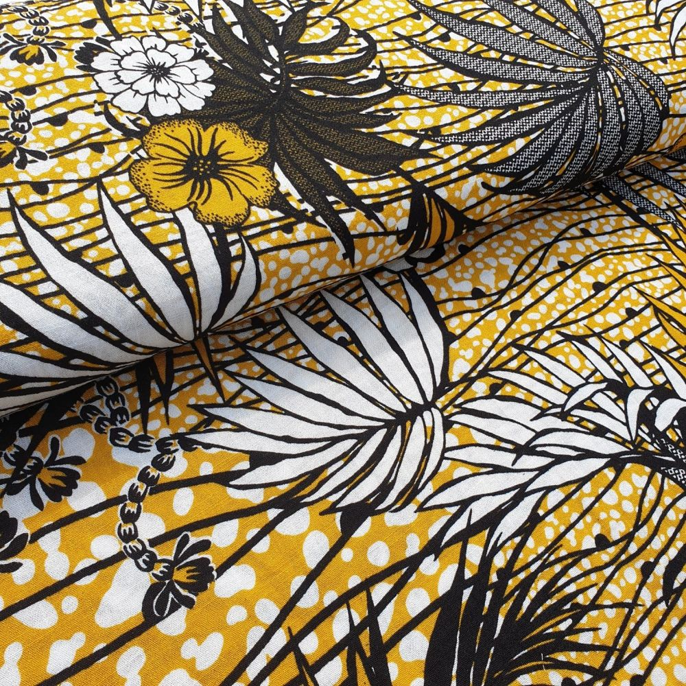 Florals On Mustard Rayon Fabric
