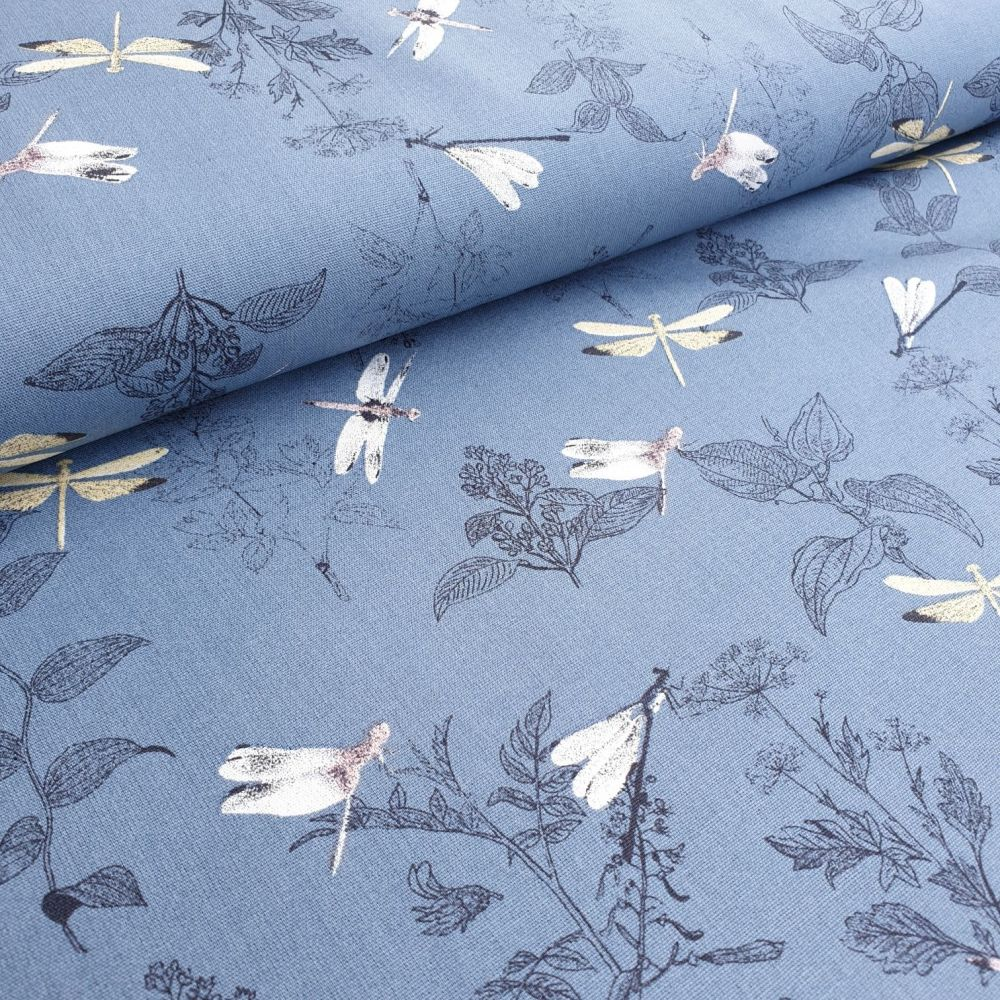 Dragonflies Blue Cotton Fabric