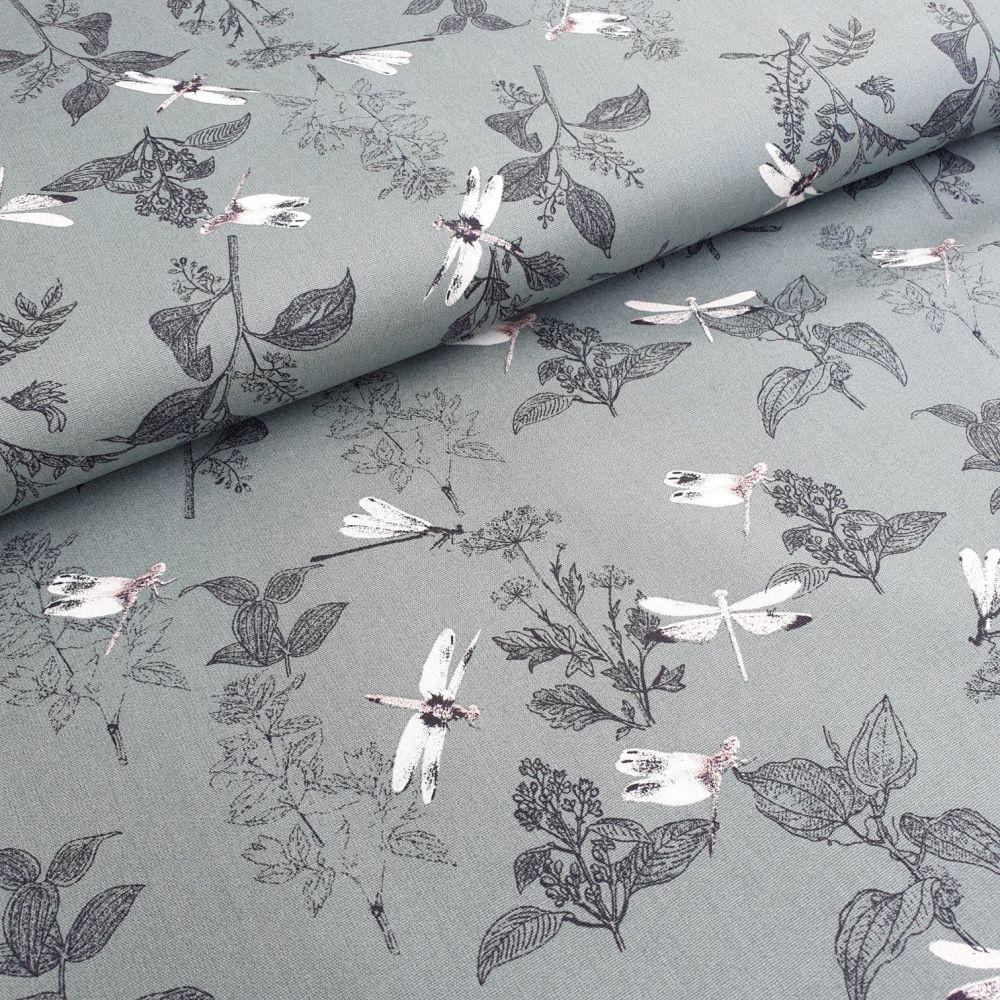 Dragonflies Green Cotton Fabric
