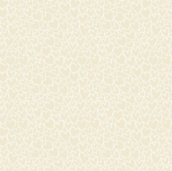 Makower Essentials Hearts Light Cream Cotton Fabric