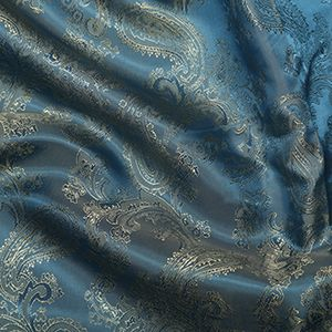 Paisley Jacquard Dress Lining Fabric Blue