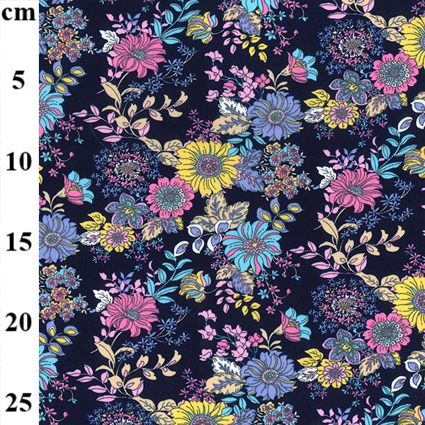 Cotton Poplin Navy Florals
