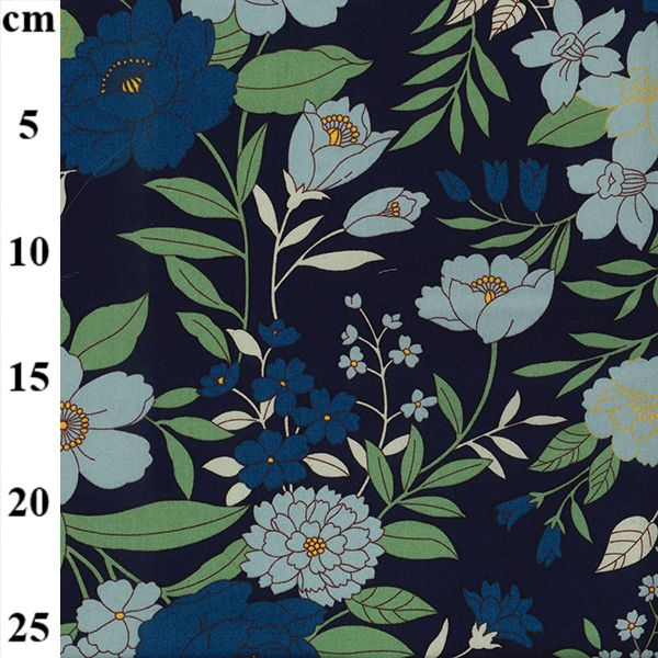 Cotton Poplin Navy Sage Florals