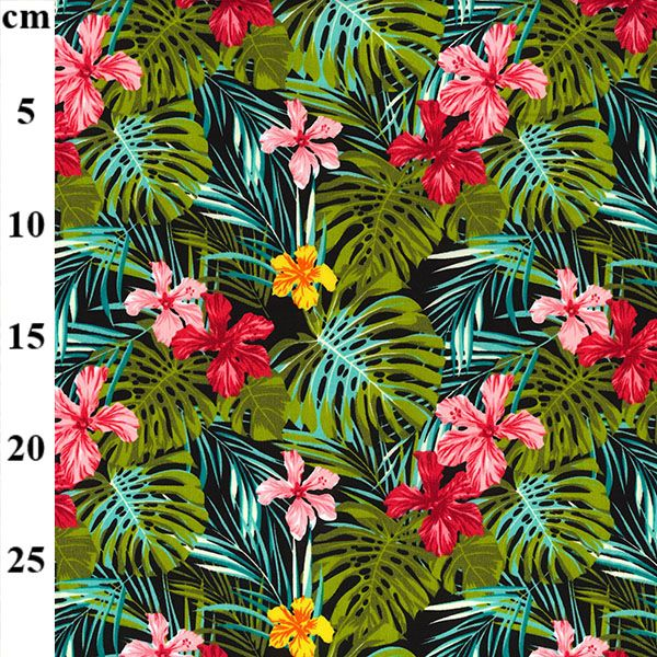 Cotton Poplin Tropical Leaves Black