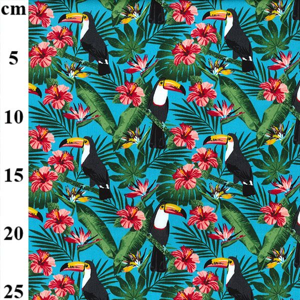 Cotton Poplin Blue Toucans