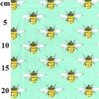 Cotton Poplin Mint Bees