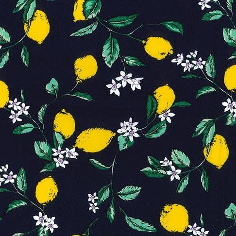 Cotton Poplin Navy Lemons