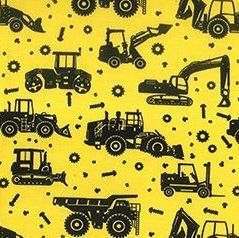 Cotton Poplin Yellow Tractors