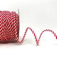 Drawstring Cord 4mm Cotton Blend Red & White