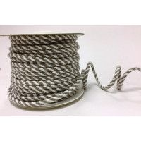 Drawstring Cord 4mm Cotton Blend Stone & White