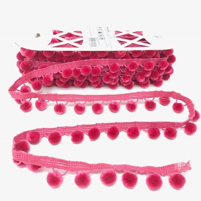 Pom-Poms Trim 28mm Pink