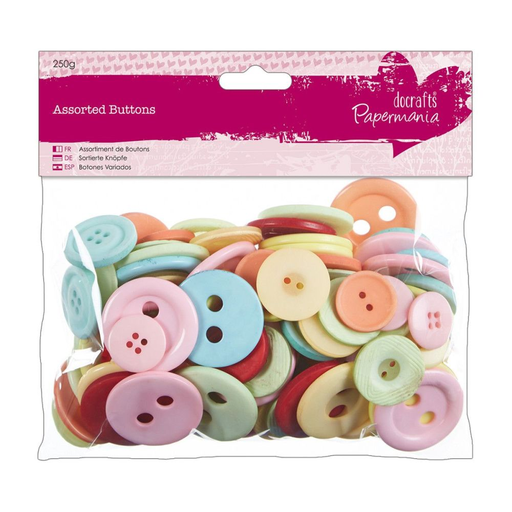 Do Crafts Assorted Buttons 250g Bag Vintage Colours