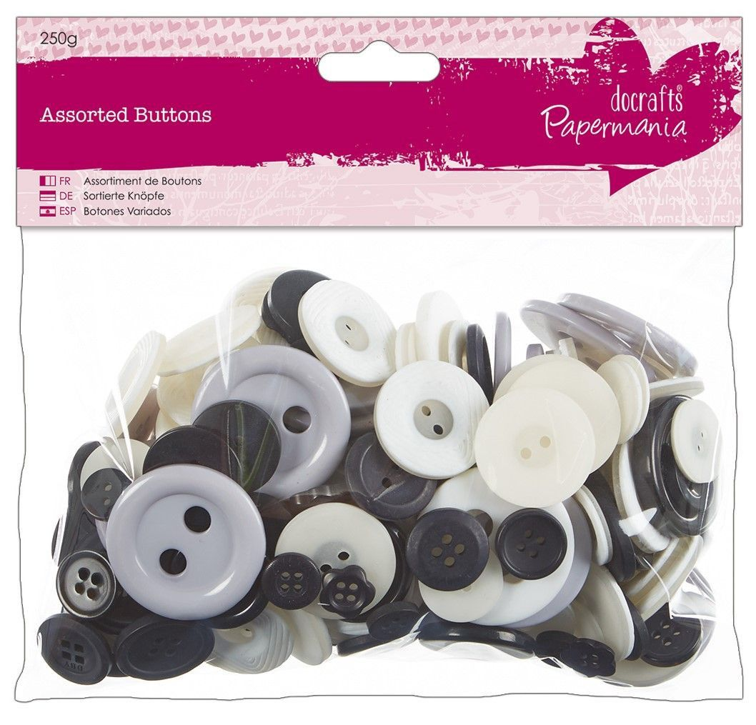 Do Crafts Assorted Buttons 250g Bag Black & White Colours