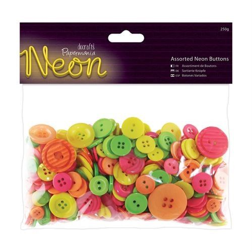 Do Crafts Assorted Buttons 250g Bag Neon Colours