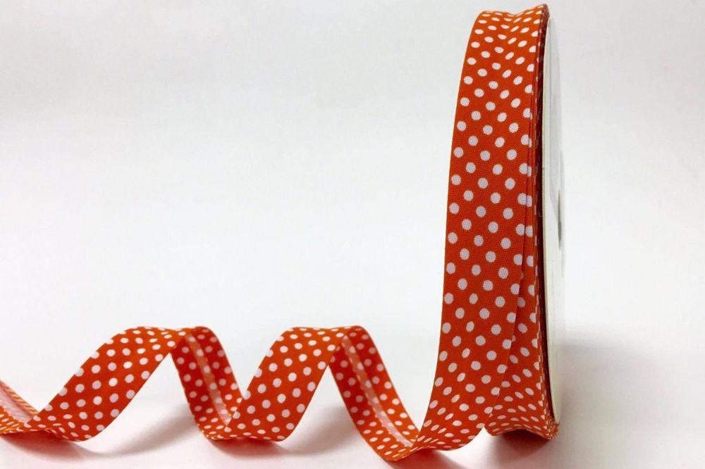 Bias Binding 18mm Orange Polka Dots