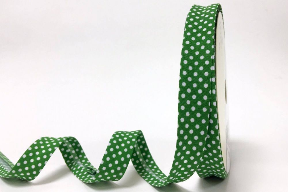 Bias Binding 18mm Emerald Polka Dots