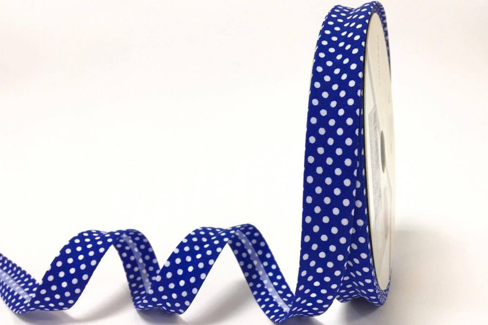 Bia Binding 18mm Royal Blue Polka Dots