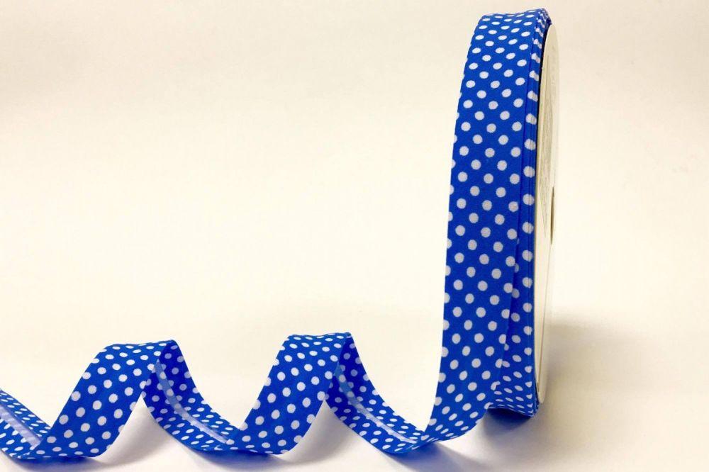 Bias Binding 18mm Mid Blue Polka Dots