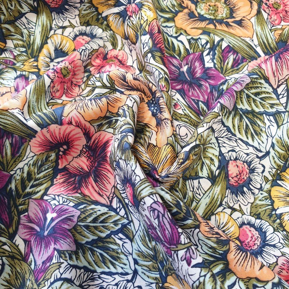 Cotton Lawn Purple Florals Fabric