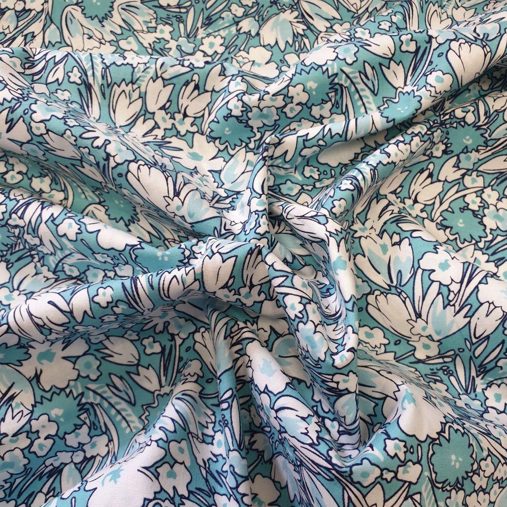 Cotton Lawn Aqua Blue Floral Fabric