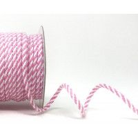 Drawstring Cord 4mm Cotton Blend Pink  & White