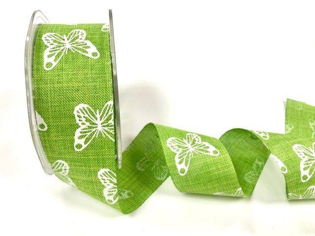 Bertie's Bows 38mm faux linen butterfly print ribbon Lime