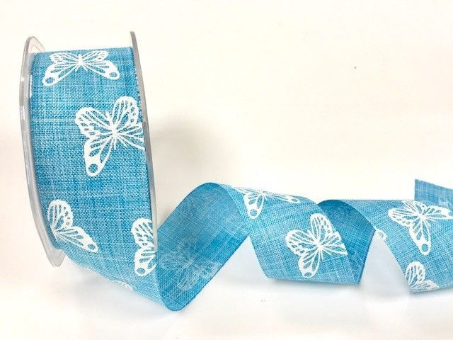 Bertie's Bows 38mm faux linen butterfly print ribbon Blue