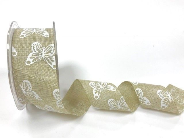 Bertie's Bows 38mm faux linen butterfly print ribbon Natural