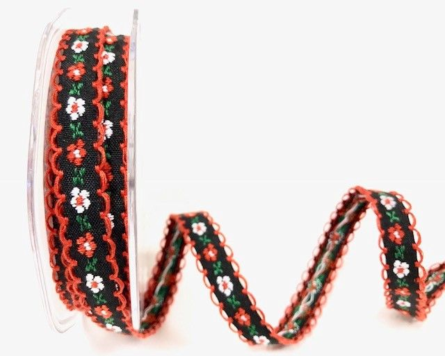 Bertie's Bows Black/Red 12mm looped woven flowers ribbon