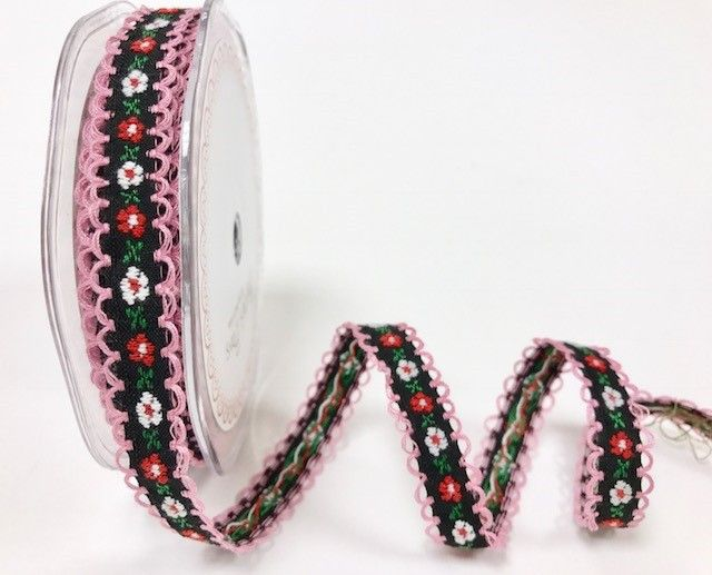 Bertie's Bows Black/Pink  12mm looped woven flowers ribbon