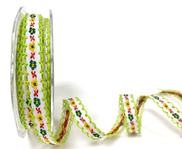 Bertie's Bows Green/White 12mm looped woven flowers ribbon