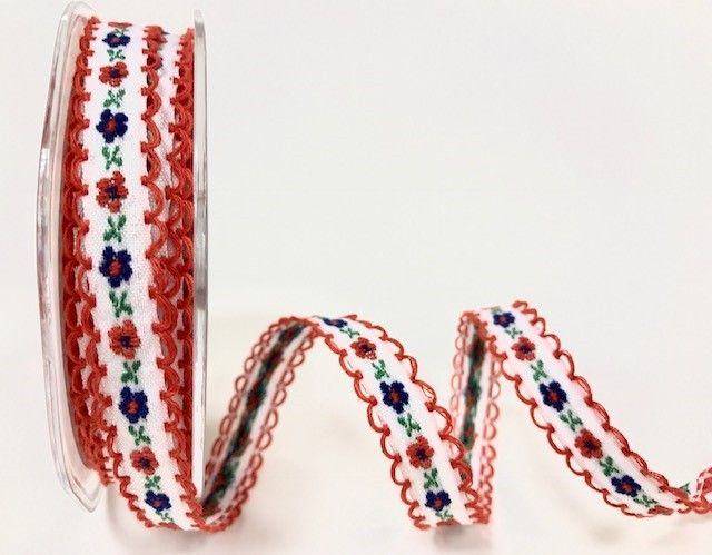 Bertie's Bows Red/White 12mm looped woven flowers ribbon