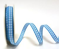 Blue 9mm Gingham Ribbon