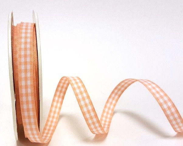 Peach 9mm Gingham Ribbon