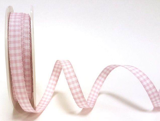 Pink 9mm Gingham Ribbon