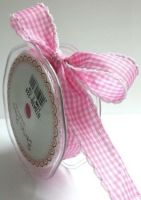 Bertie's Bows Pink 25mm Gingham Ribbon with White Lace Edge