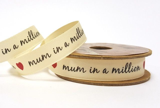 15mm Mum in a Million Print Ribbon
