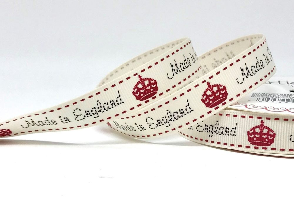 Bertie's Bows Made in England Print 16mm Grosgrain Ribbon