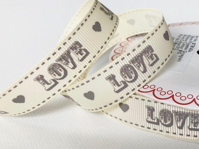 Bertie's Bows Grey Vintage Love Print on 16mm Ivory Grosgrain Ribbon
