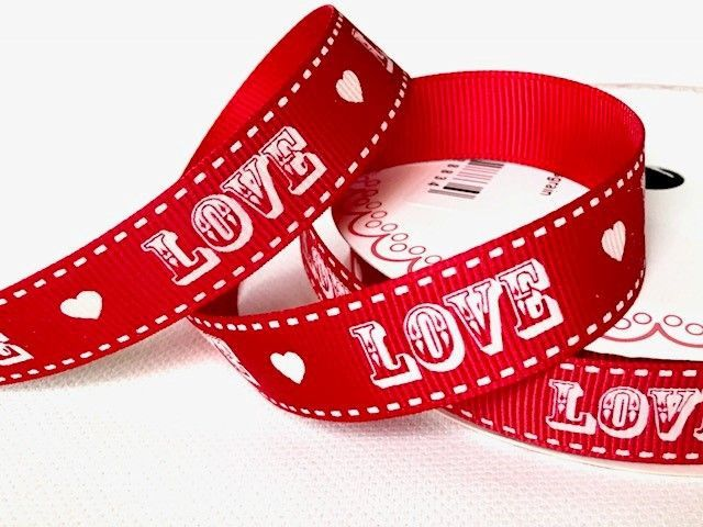 Bertie's Bows Red Vintage Love Print on 16mm Grosgrain Ribbon
