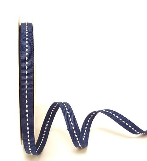 Bertie's Bows Navy 9mm Centre Stitch Grosgrain Ribbon