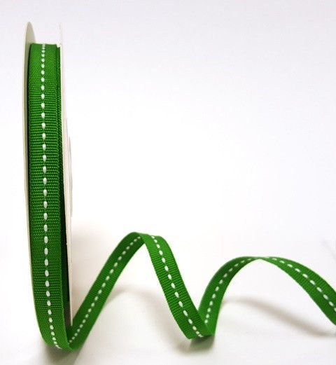 Bertie's Bows Green 9mm Centre Stitch Grosgrain Ribbon