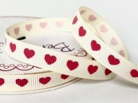 Bertie's Bows Red Heart Print on 9mm Ivory Grosgrain Ribbon