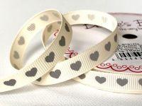 Bertie's Bows Grey Heart Print on 9mm Ivory Grosgrain Ribbon