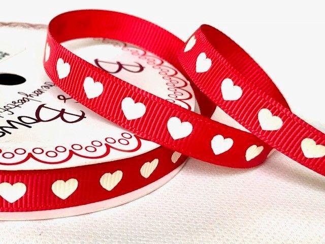 Bertie's Bows Ivory Heart Print on 9mm Red Grosgrain Ribbon