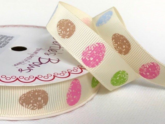 Bertie's Bows Floral Egg Print on 16mm Ivory Grosgrain Ribbon