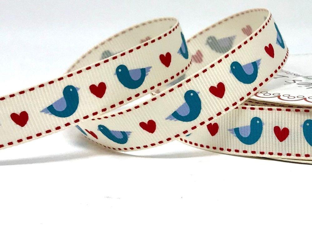 Bertie's Bows Blue Folk Bird & Heart Print 16mm Ivory Grosgrain Ribbon