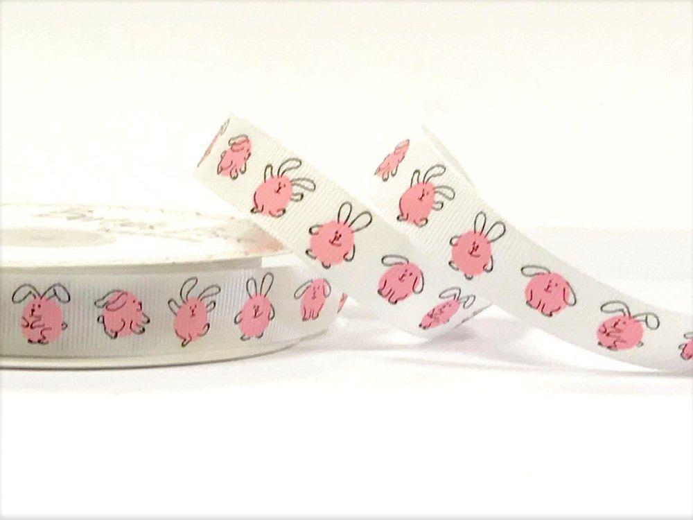 Bertie's Bows 16mm Pink Bunnies print grosgrain ribbon